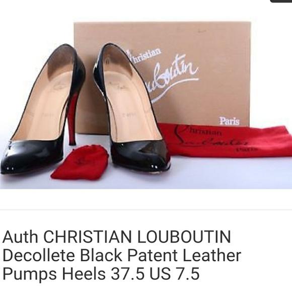 e4da472456f Authentic Louboutins decollete black patent heels
